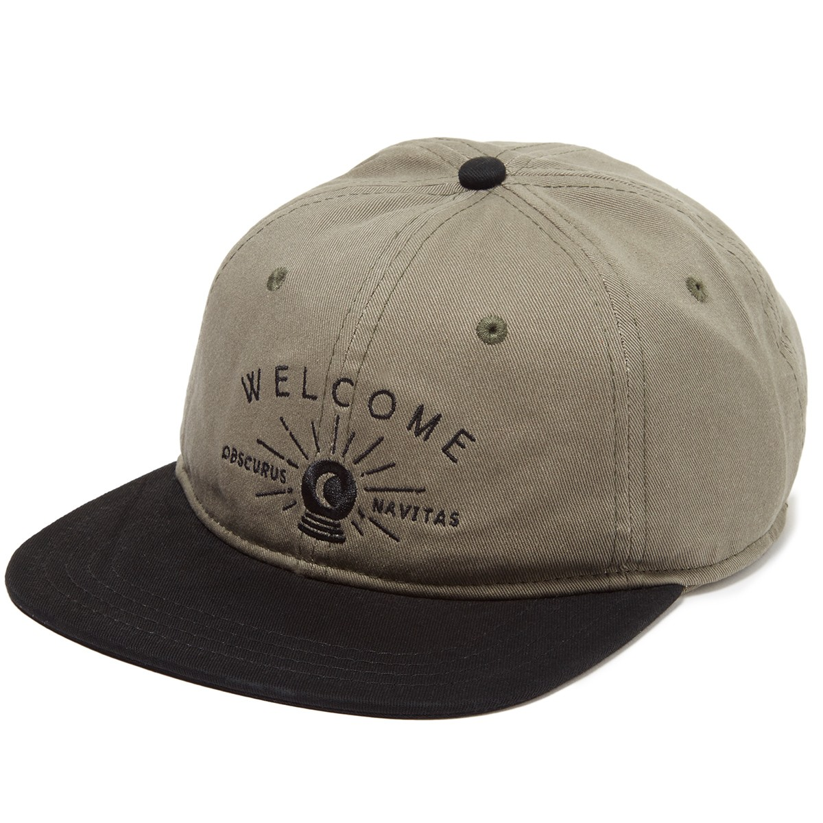 Welcome Dark Energy Unstructured 6-Panel Slider Hat - Olive/Black