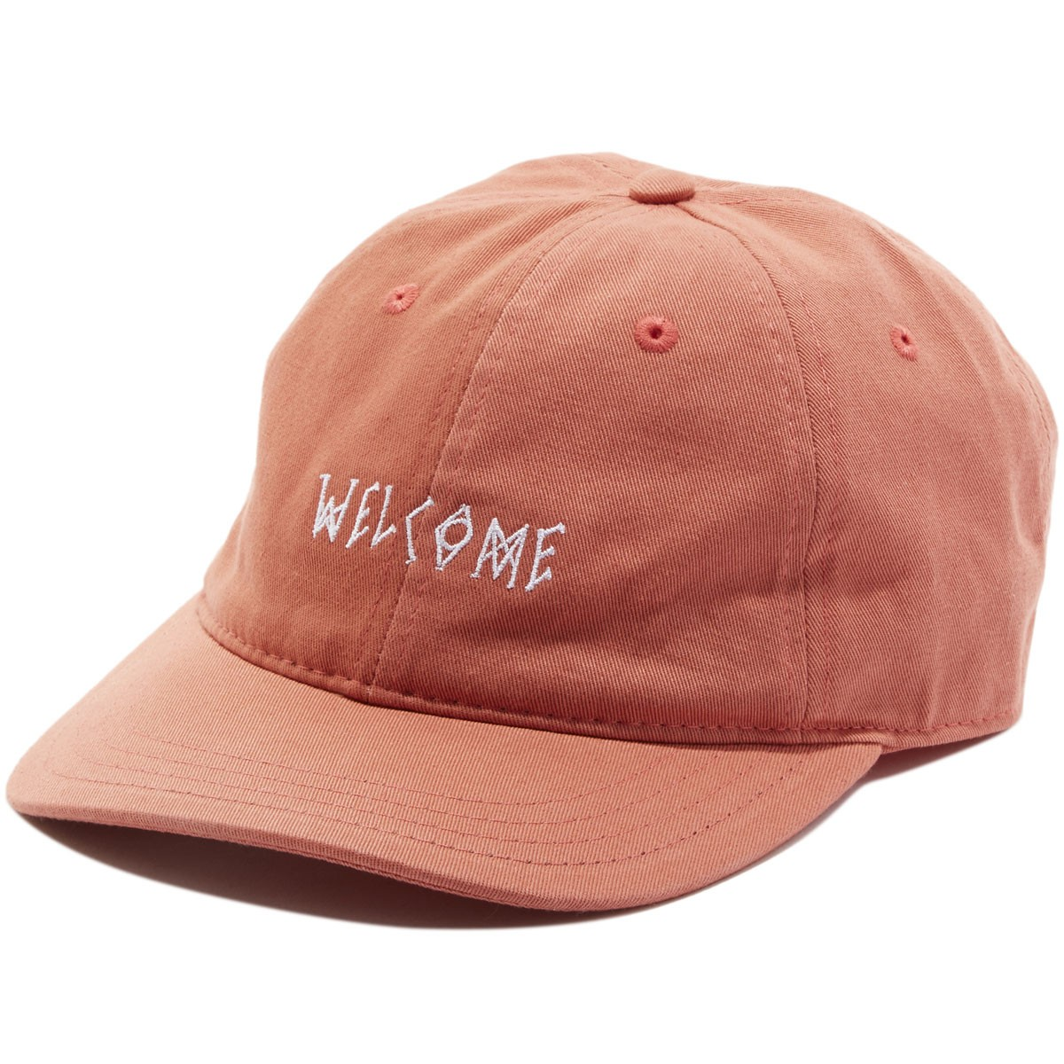 Welcome Scrawl Unstructured 6-Panel Slider Hat - Red