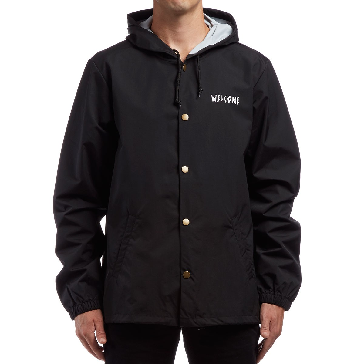 Welcome Tracking Hooded Coaches Jacket - Black/White