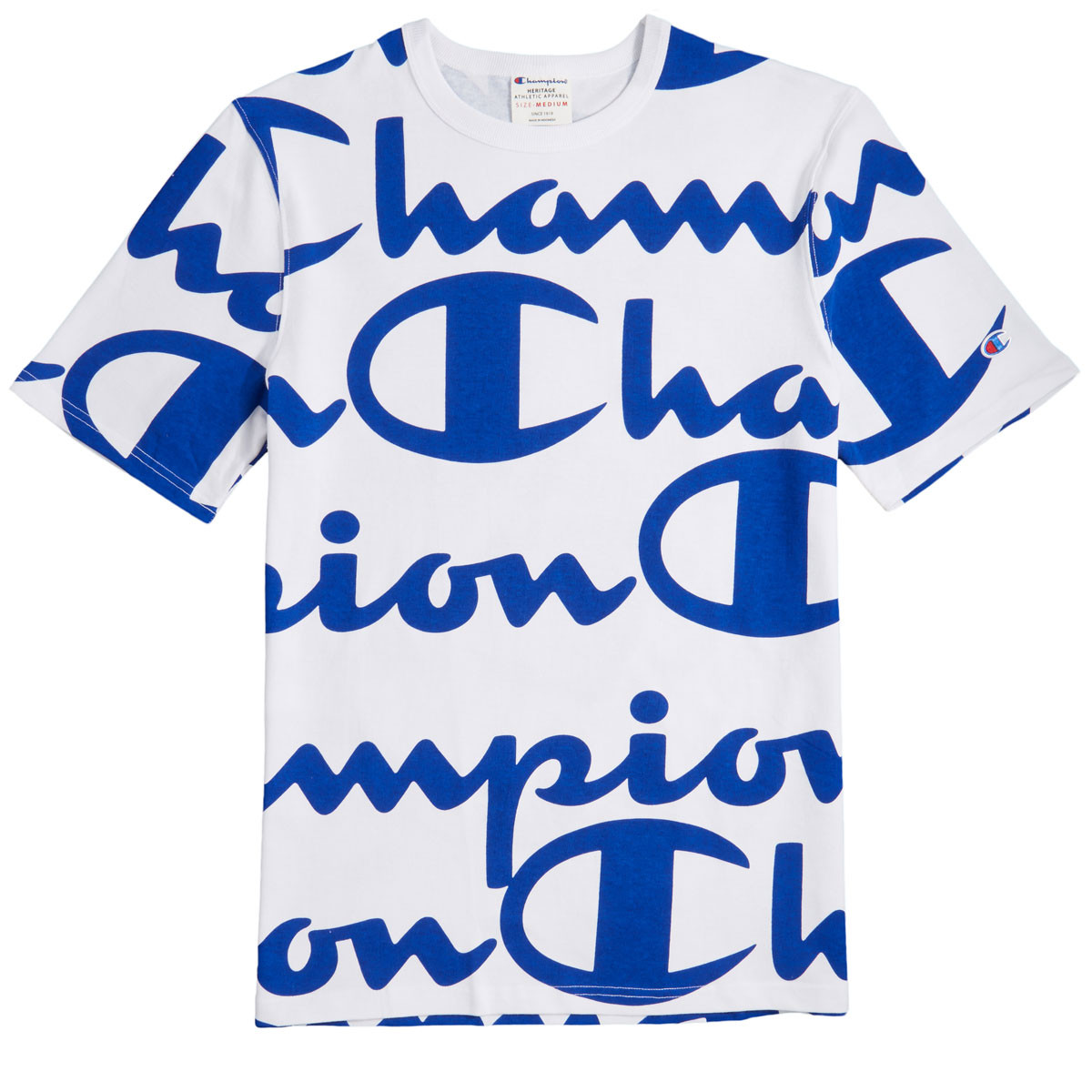2ee4502b Champion Heritage All Over Giant Script T-Shirt - White/Surf