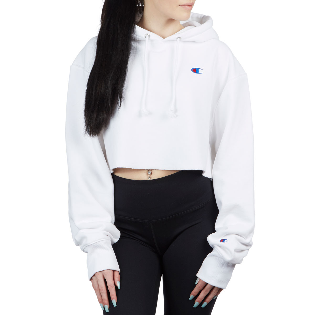 25ed261dd7d1e Champion Womens Reverse Weave Cropped Cut Off Hoodie - White