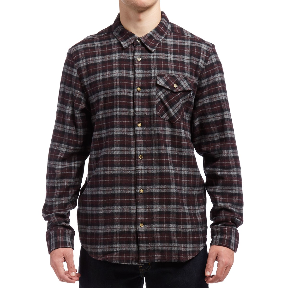 Primitive philly heather flannel shirt burgundy plaid for What are flannel shirts made of