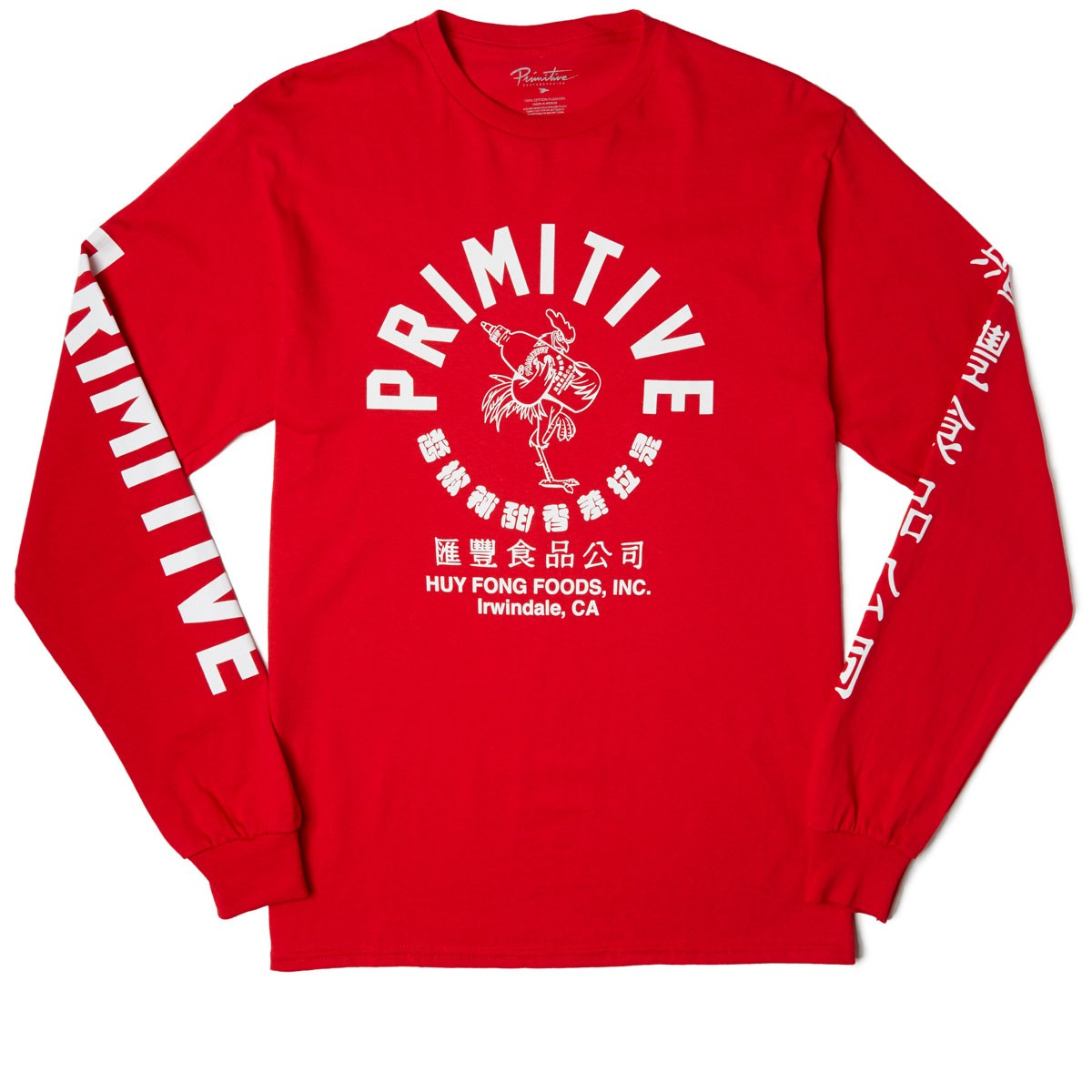 Primitive X Huy Fong Foods Big Arch Rooster Longsleeve T-Shirt - Red c5401fd3e448