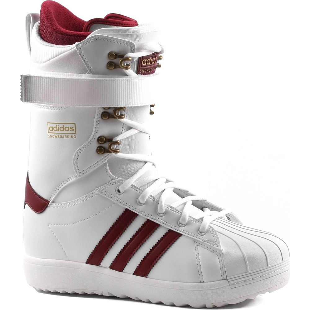 new concept 61d22 f5b84 Adidas Superstar ADV Snowboard Boots - White/Burgundy/Gold Metallic