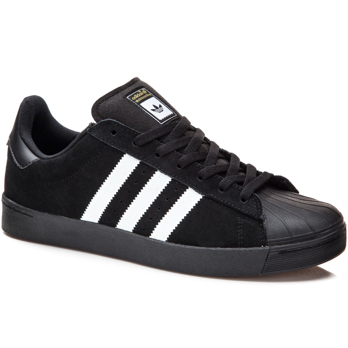 Adidas Superstar Vulc Adv Shoes - Black/White/Black Suede - 7.0