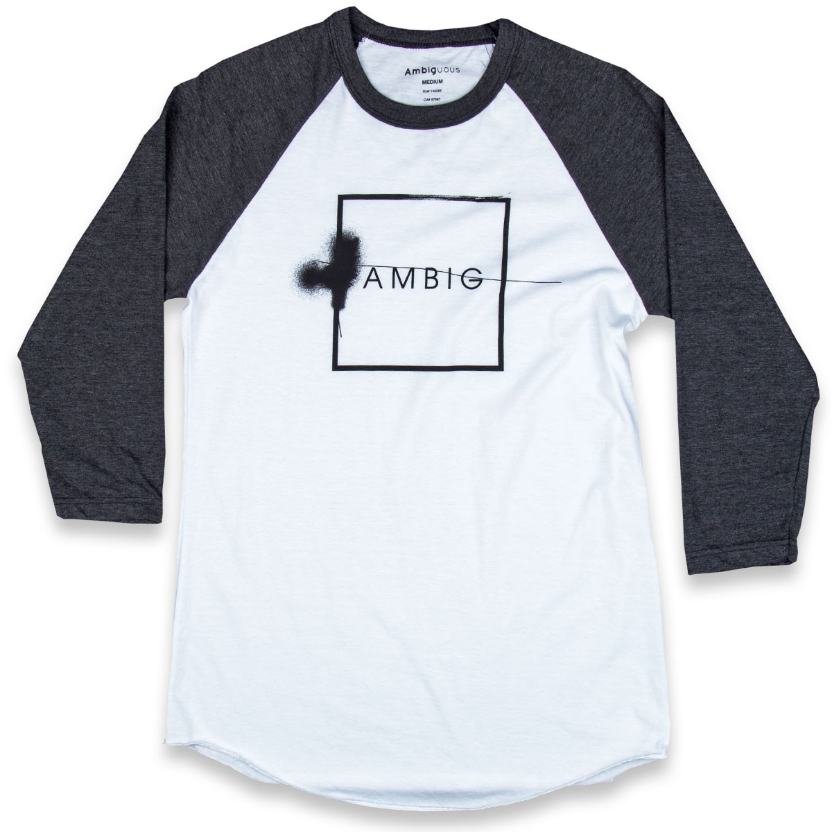 Ambig Ambig Box Raglan T-Shirt - White/Charcoal Heather