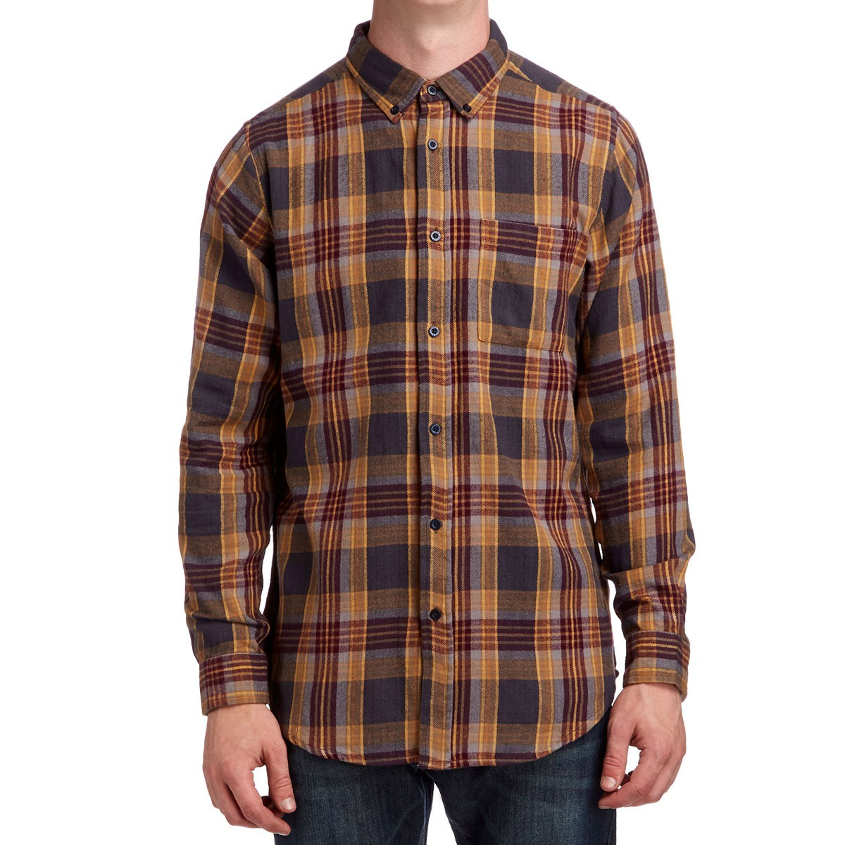 Ccs flannel long sleeve shirt southbank plaid for Plaid shirt long sleeve