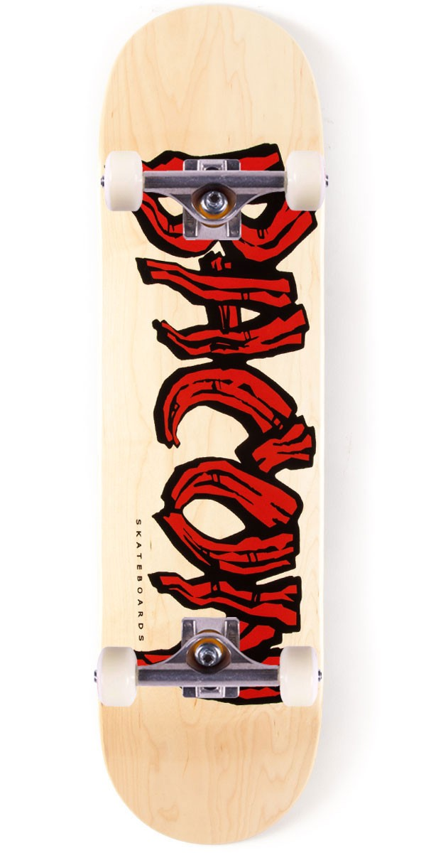 Bacon Woodgrain Logo Skateboard Complete - Red - 8.38""