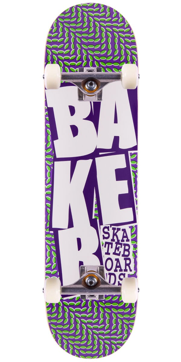 """Baker Stacked Chill Wave Skateboard Complete - Purple/Green - 7.875"""""""