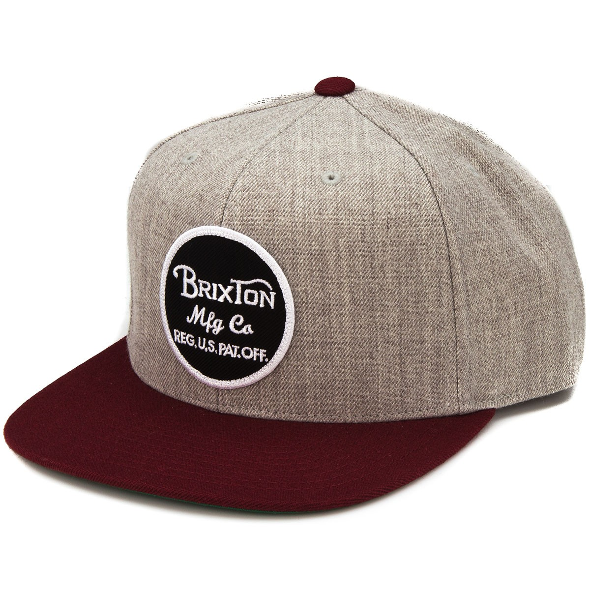 Brixton Wheeler Snap Back Hat - Light Heather Grey/Burgundy