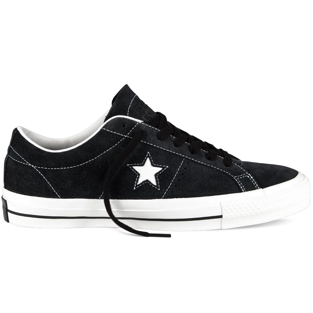 5027c5f08e65 Converse One Star Pro Suede Shoes - Black White - 8.0