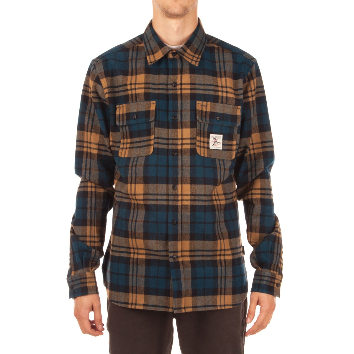 Diamond supply co caribou flannel plaid shirt golden brown for Brown and black plaid shirt
