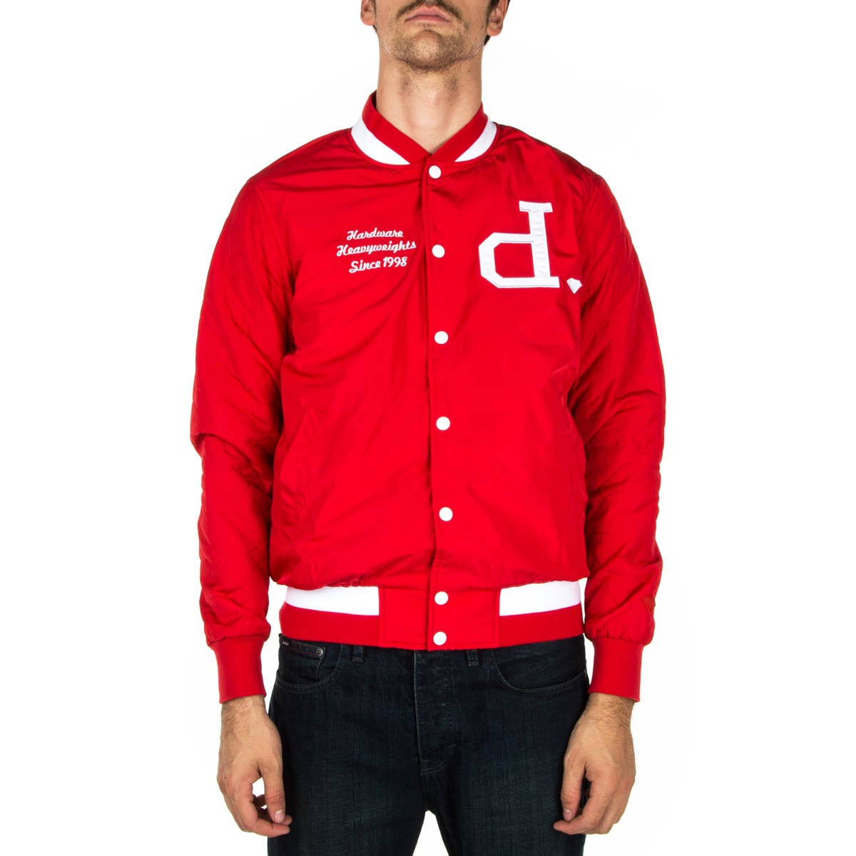 diamond supply co un polo varsity jacket red. Black Bedroom Furniture Sets. Home Design Ideas