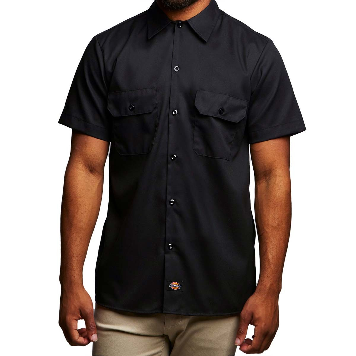 dickies slim fit flex twill work shirt black