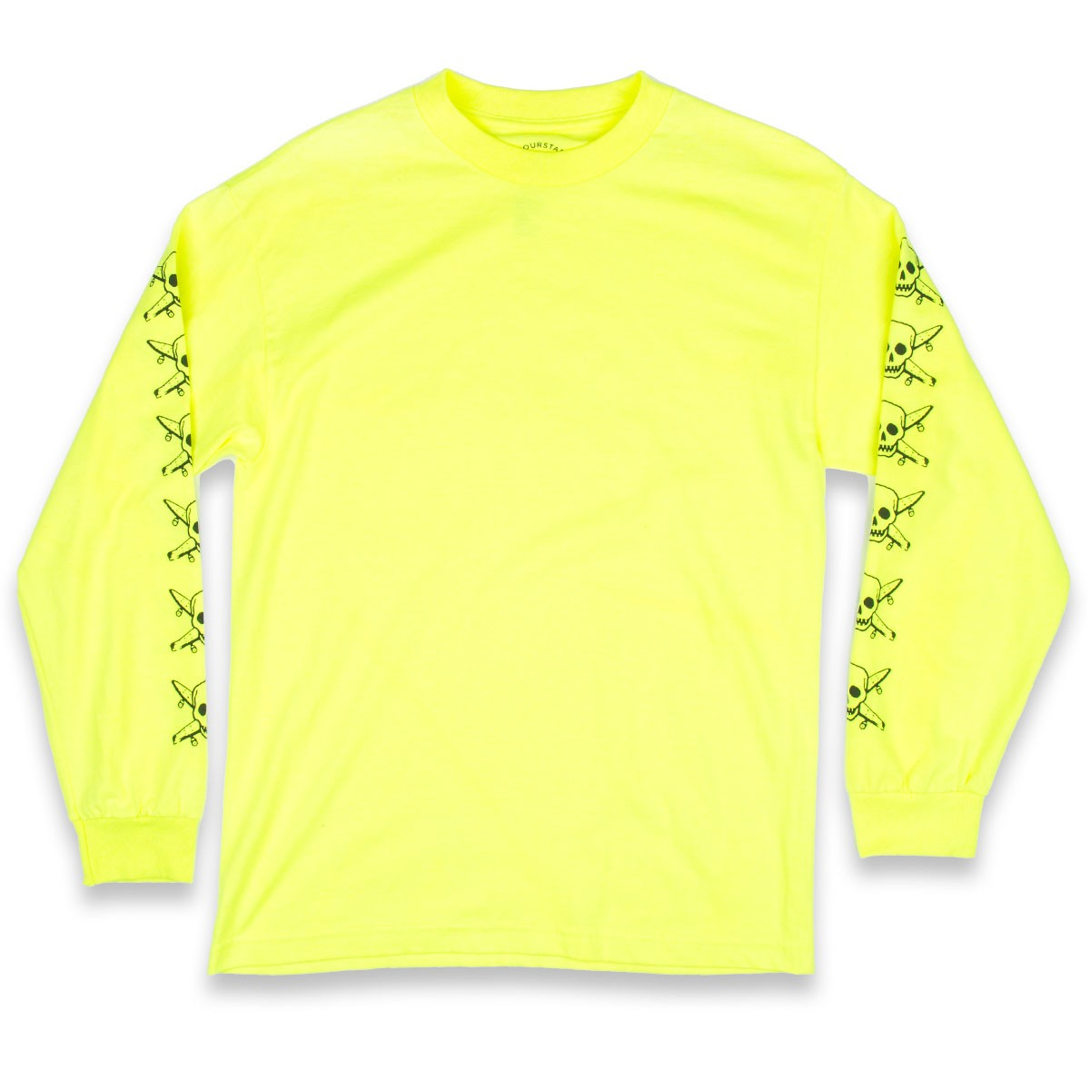 Fourstar pirate sleeve long sleeve t shirt safety yellow for Yellow long sleeved t shirt