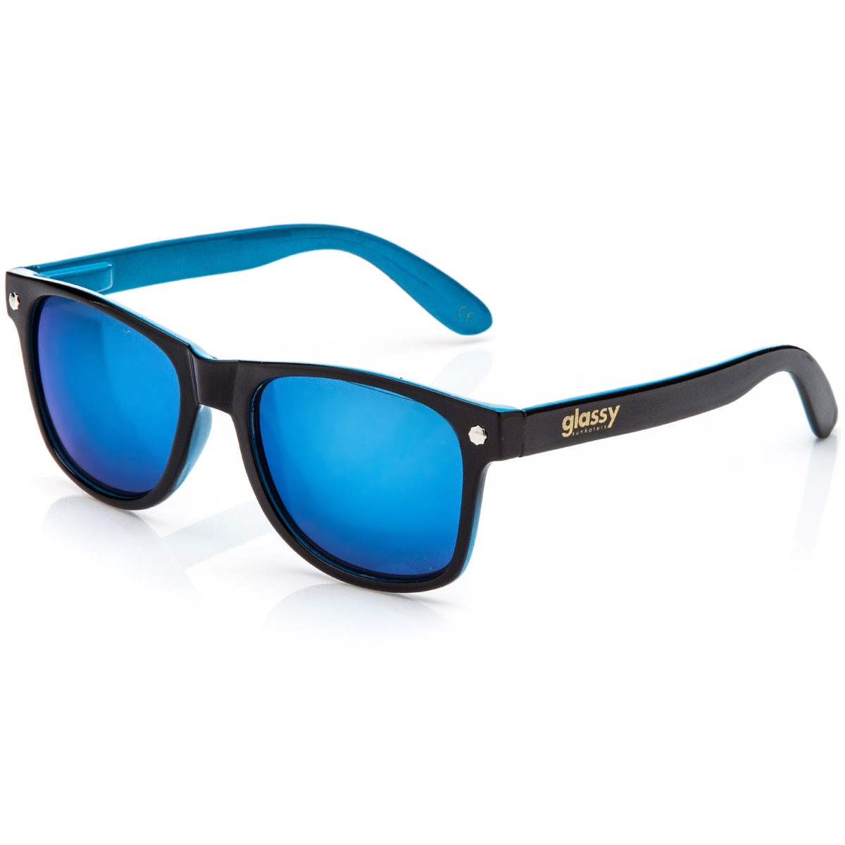 Glassy Leonard Sunglasses Black Blue Blue Mirror