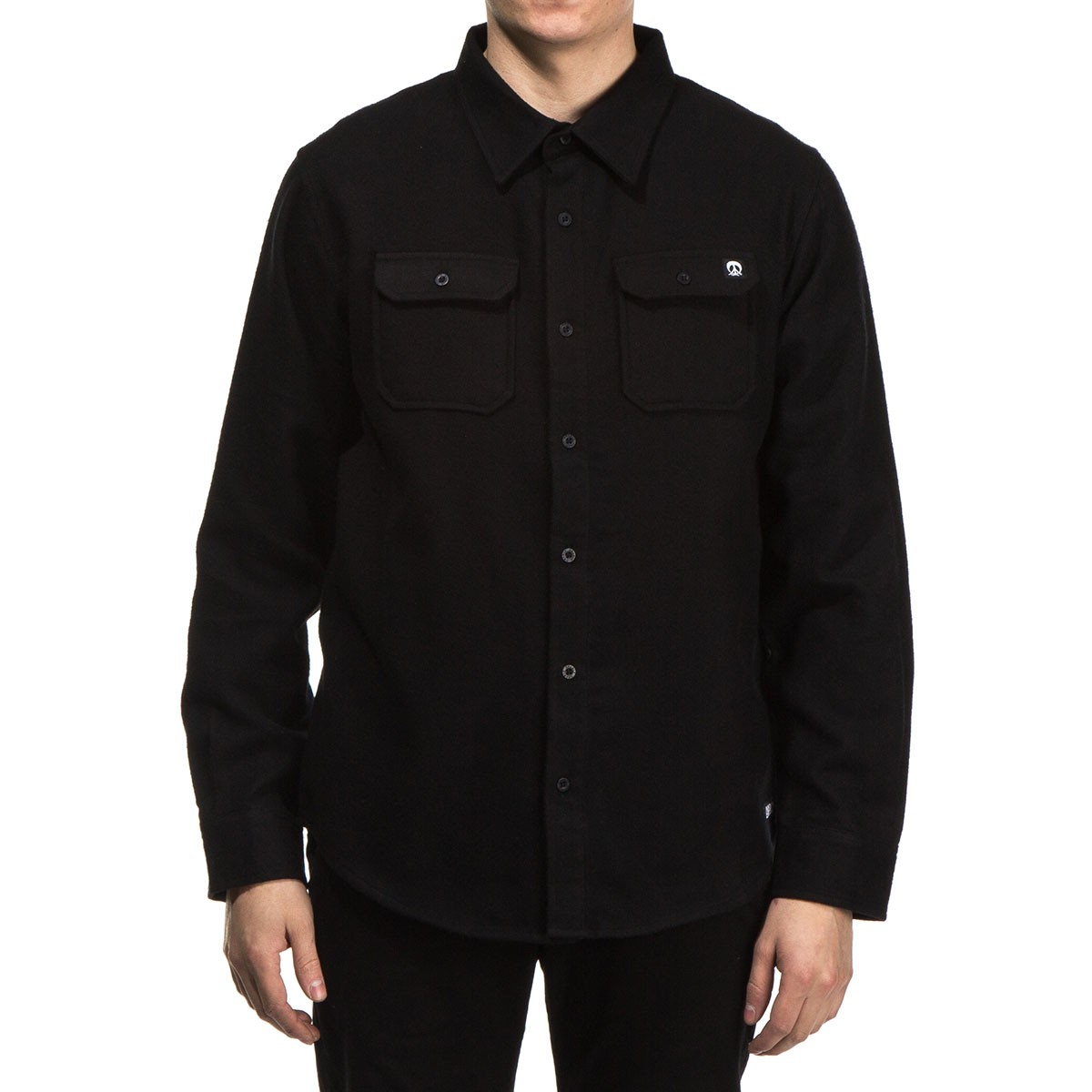 Gnarly Solid Flannel Shirt - Black - LG