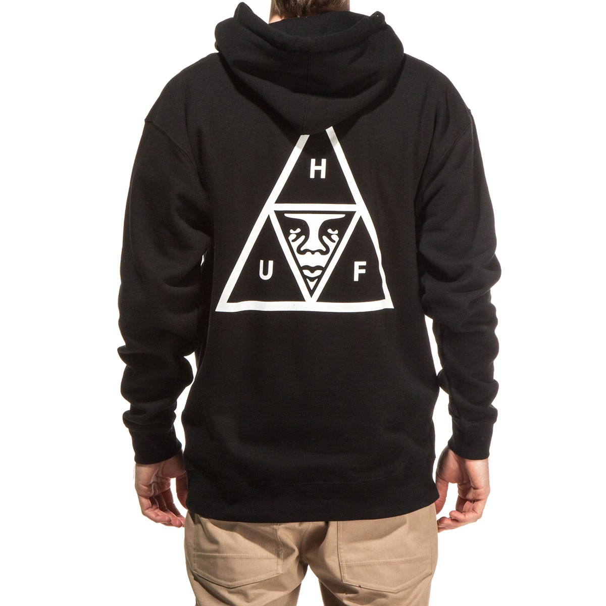 huf x obey triple triangle pullover hoodie black. Black Bedroom Furniture Sets. Home Design Ideas