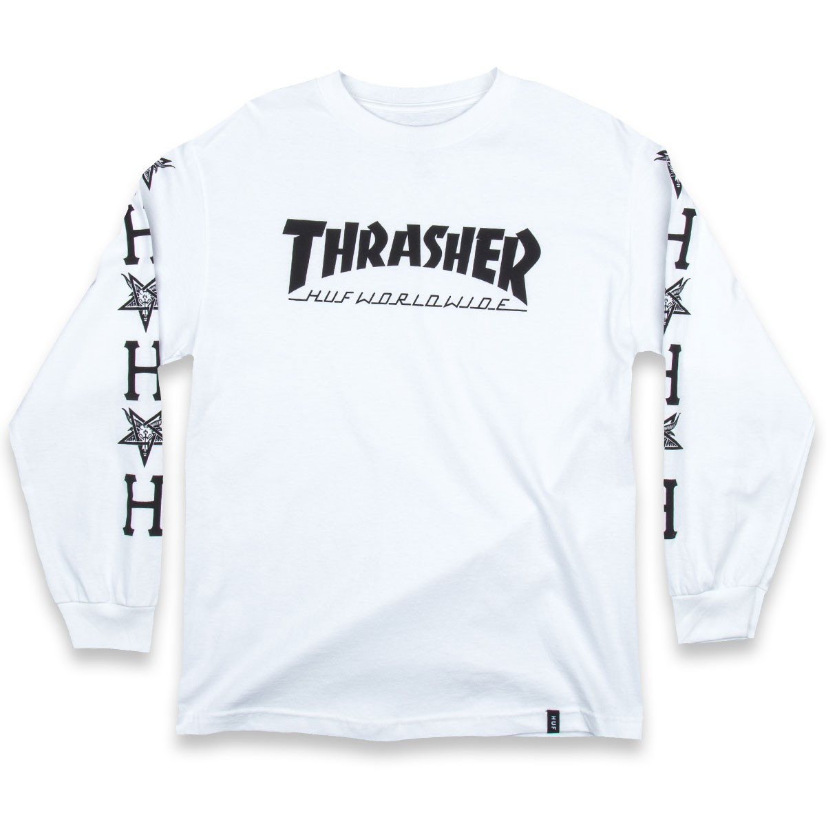 HUF X Thrasher Collab Logo Long Sleeve T-Shirt - White 1f41fdd7e3c0