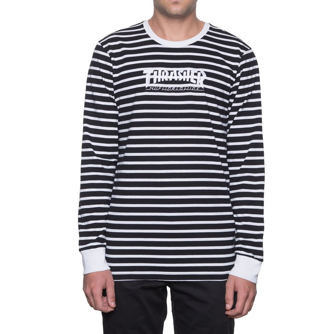 Huf X Thrasher Tour De Stoops Stripe Crew Long Sleeve T
