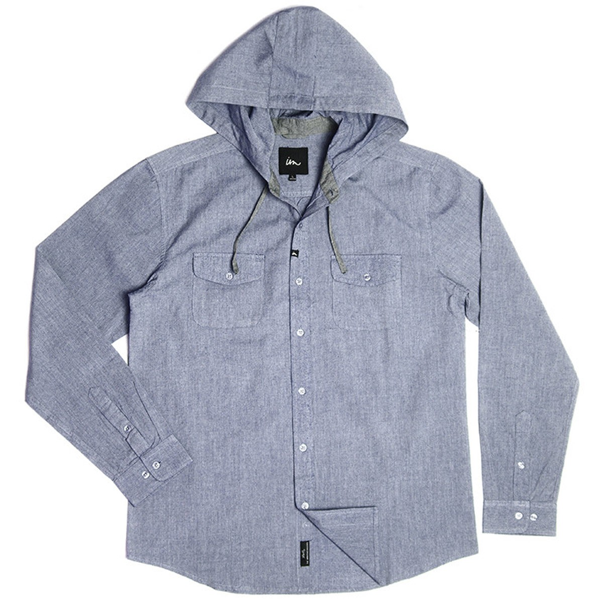 Imperial Motion Clyde Hooded Long Sleeve Chambray Shirt - Indigo