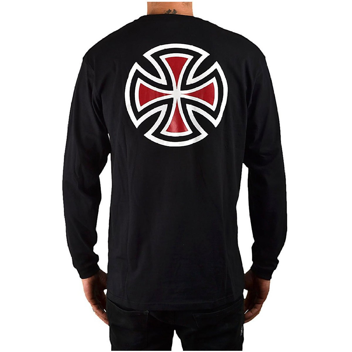 Independent bar cross long sleeve t shirt black for Long sleeve black tee shirts
