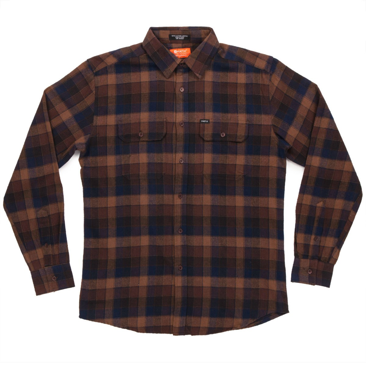 Matix ridgeport flannel brown for What are flannel shirts made of