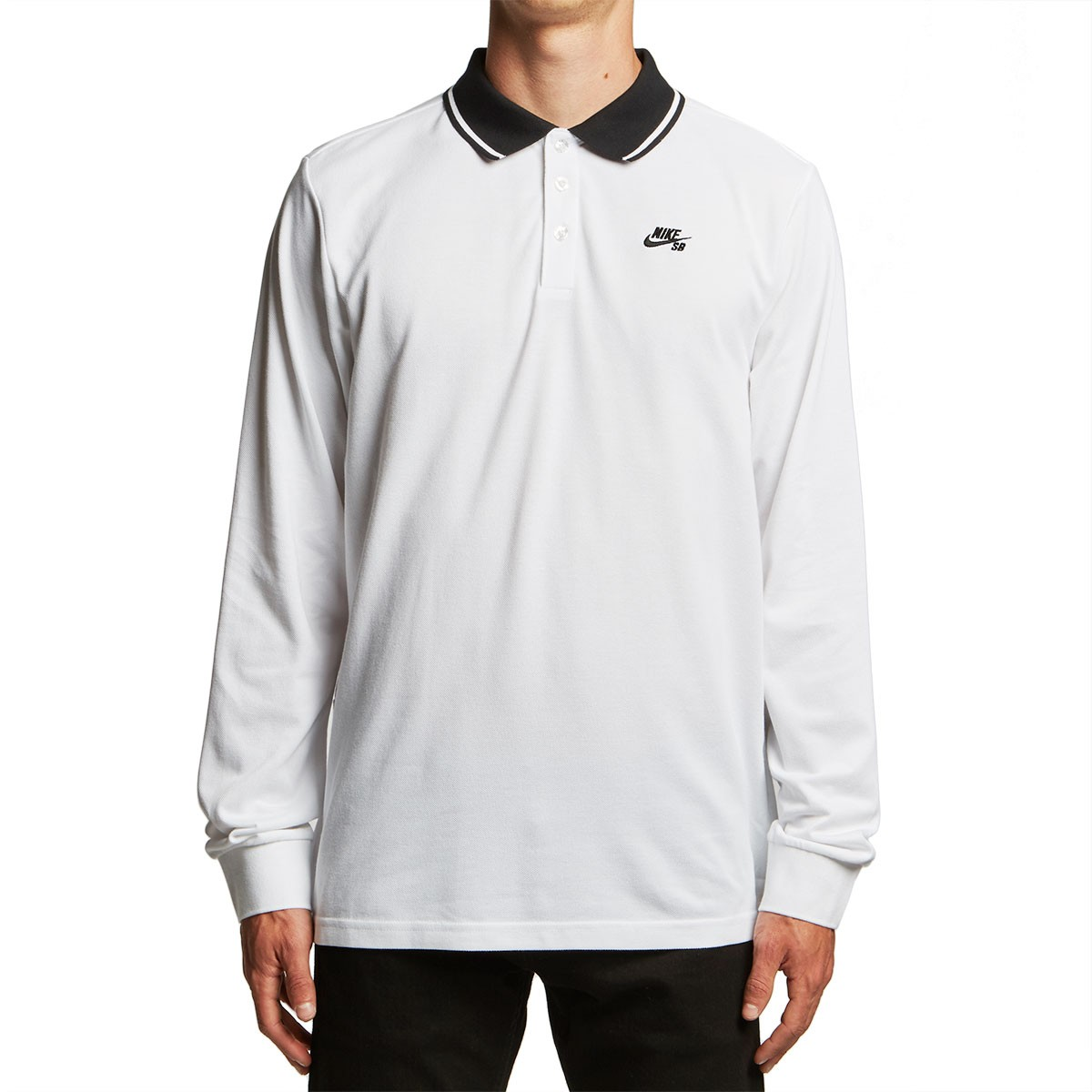 a23b9b41 Nike SB Dri-Fit Longsleeve Polo Shirt - White/Black/Black