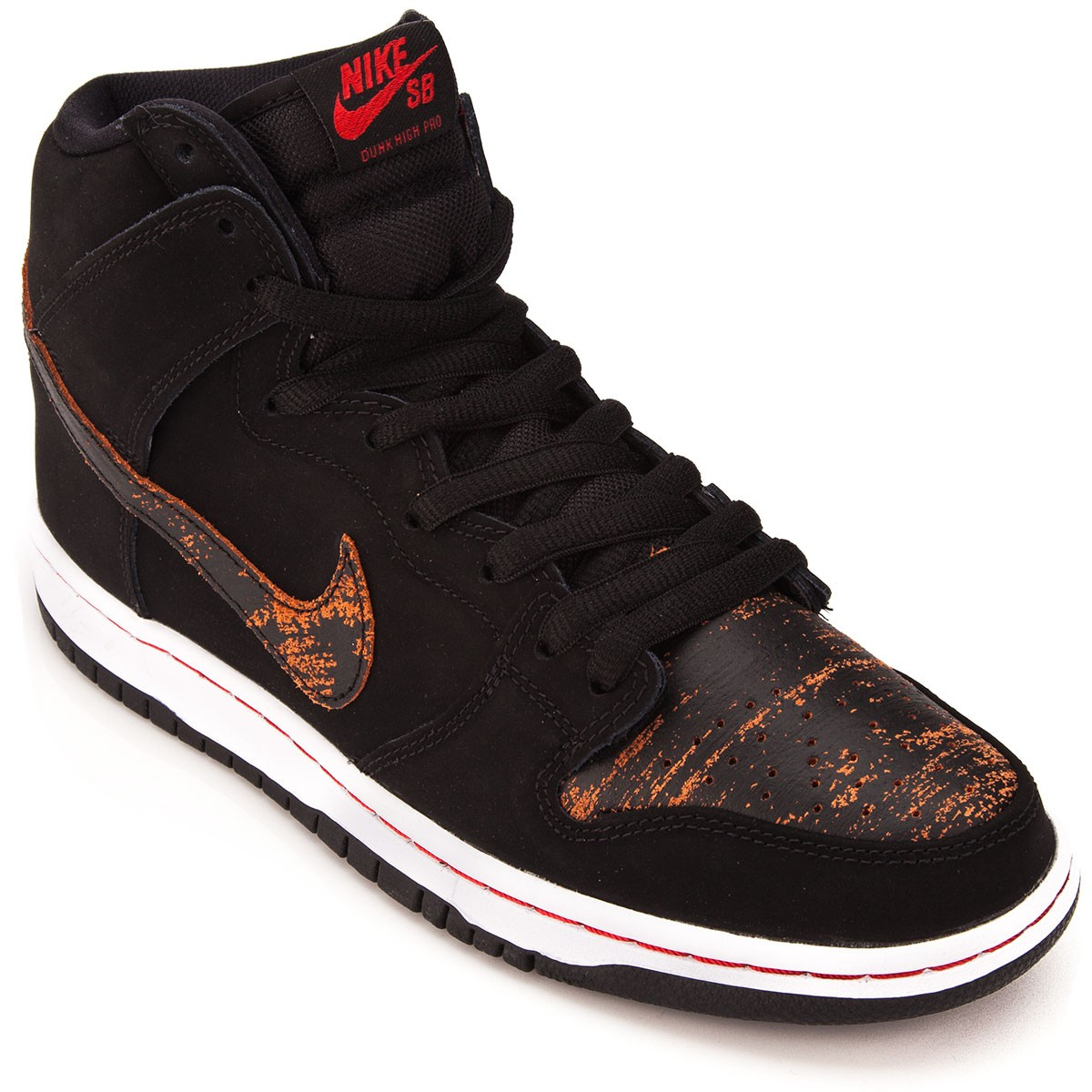 Nike SB Dunk High Pro Shoes - Black Black Red - 6.0 c00248a41