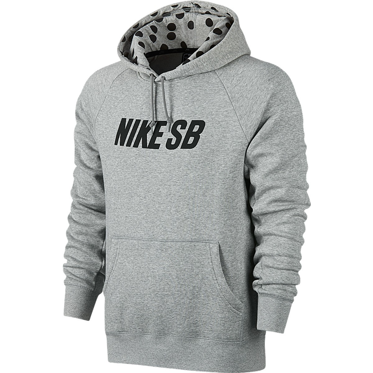 SB Icon Polka Dot Pullover Hoodie Sweatshirt - Dark Grey Heather/Black