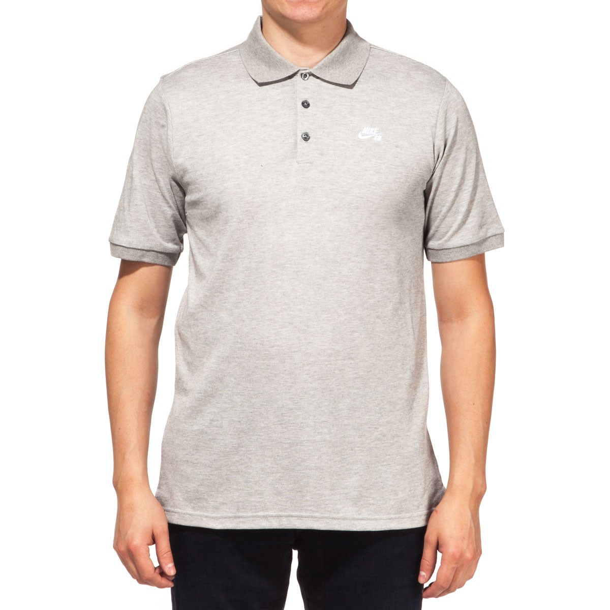 Nike SB Dri-FIT Pique Polo Shirt - Dark Grey Heather/White