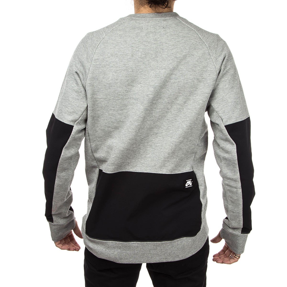 Nike Sb Everett Overlay Pocket Crew Sweatshirt Dark Heather Grey Black
