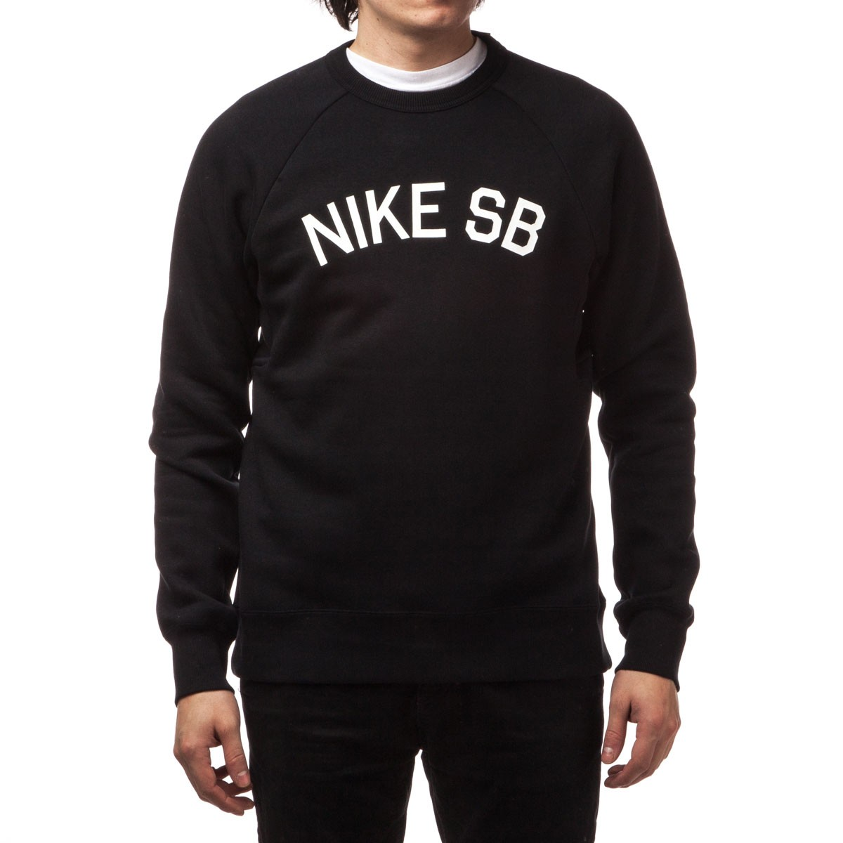 Nike Sb Icon Coaches Fleece Crew Sweatshirt Black White