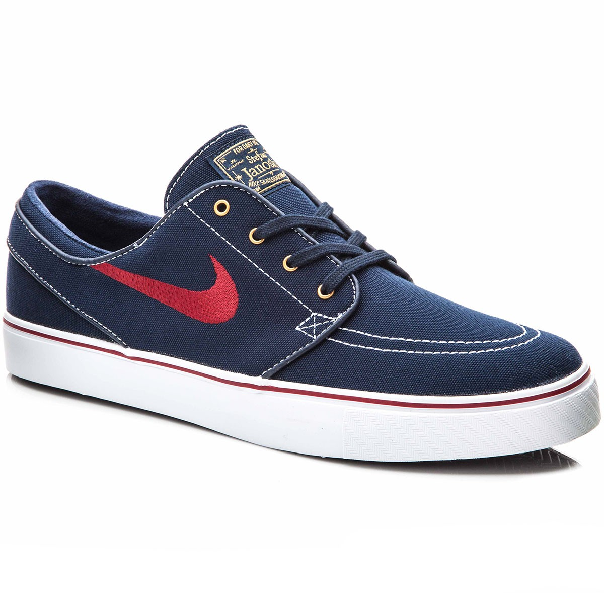 Nike Zoom Stefan Janoski Canvas Shoes - Obsidian/White/Metallic Gold/Red - 10.0