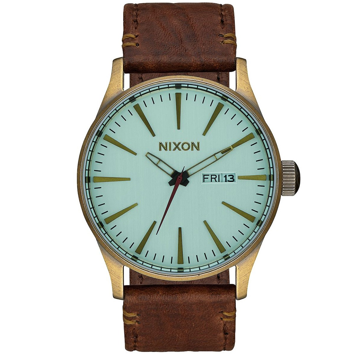 Nixon Sentry Leather Watch - Brass/Green Crystal/Brown