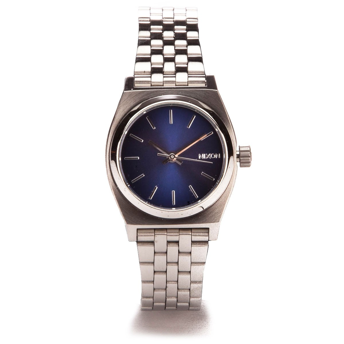 Nixon Small Time Teller Watch - All Silver / Cobalt