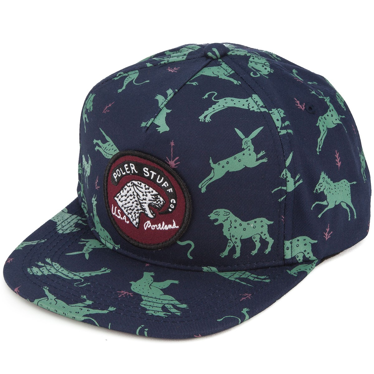 Poler Tiger Eye Snapback Hat - Blue Steel Animals