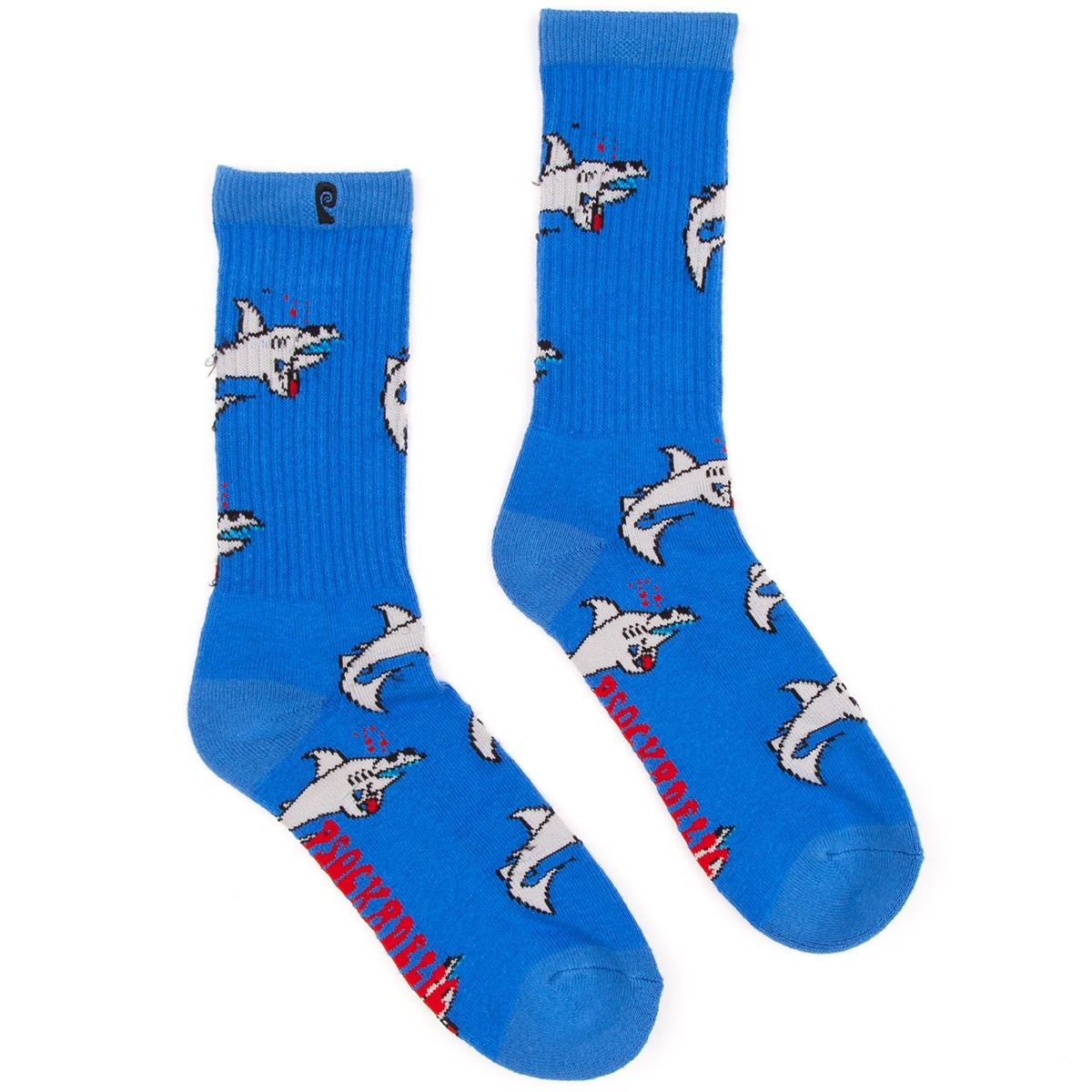 Psockadelic Party Shark Socks - Blue/Light Blue