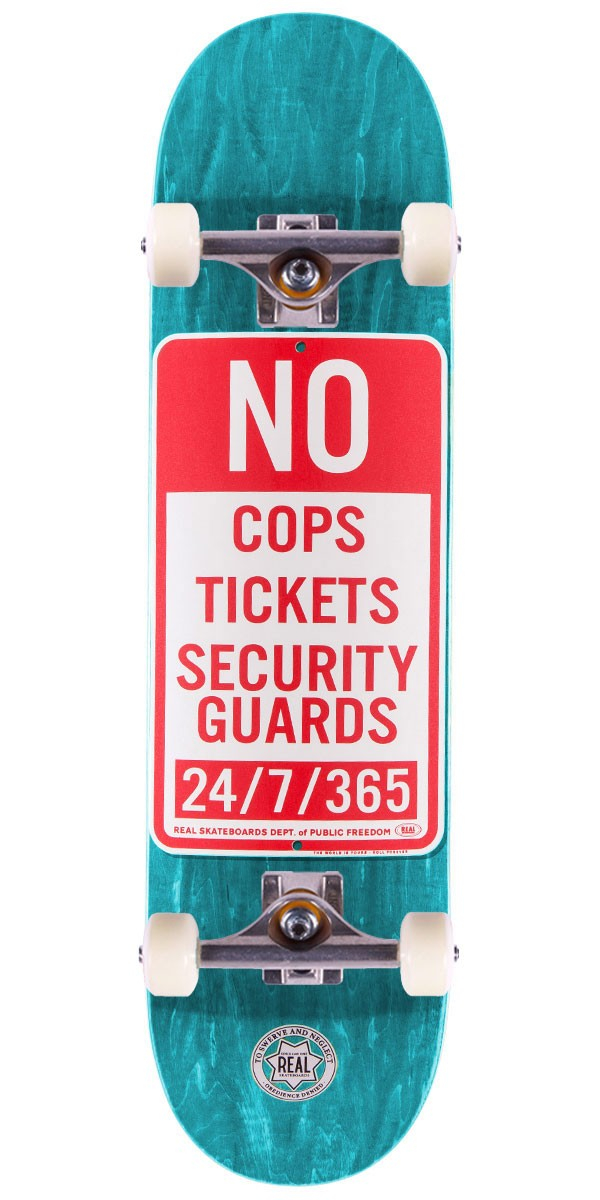 "Real Enforcement Prohibited Skateboard Complete - 8.5"" - Teal Stain"
