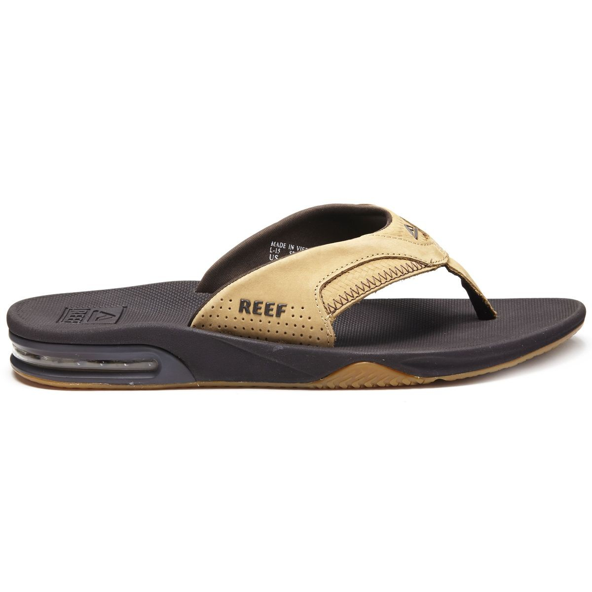 e5282ae235f5 Reef Leather Fanning Sandals - Tan Woven - 10.0