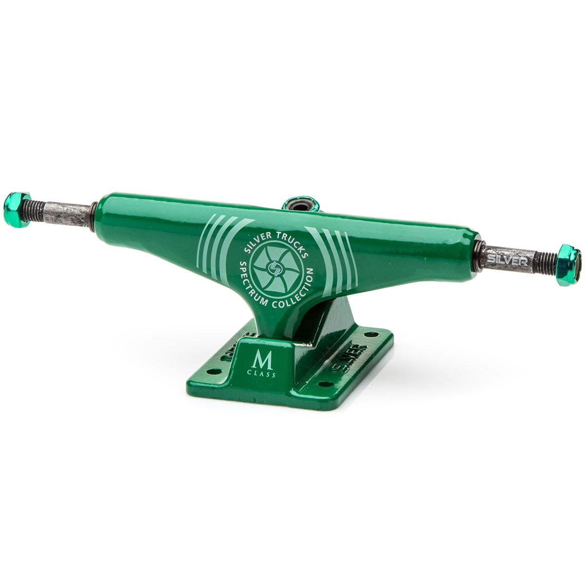 Silver M-Class Spectrum Green Skateboard Trucks