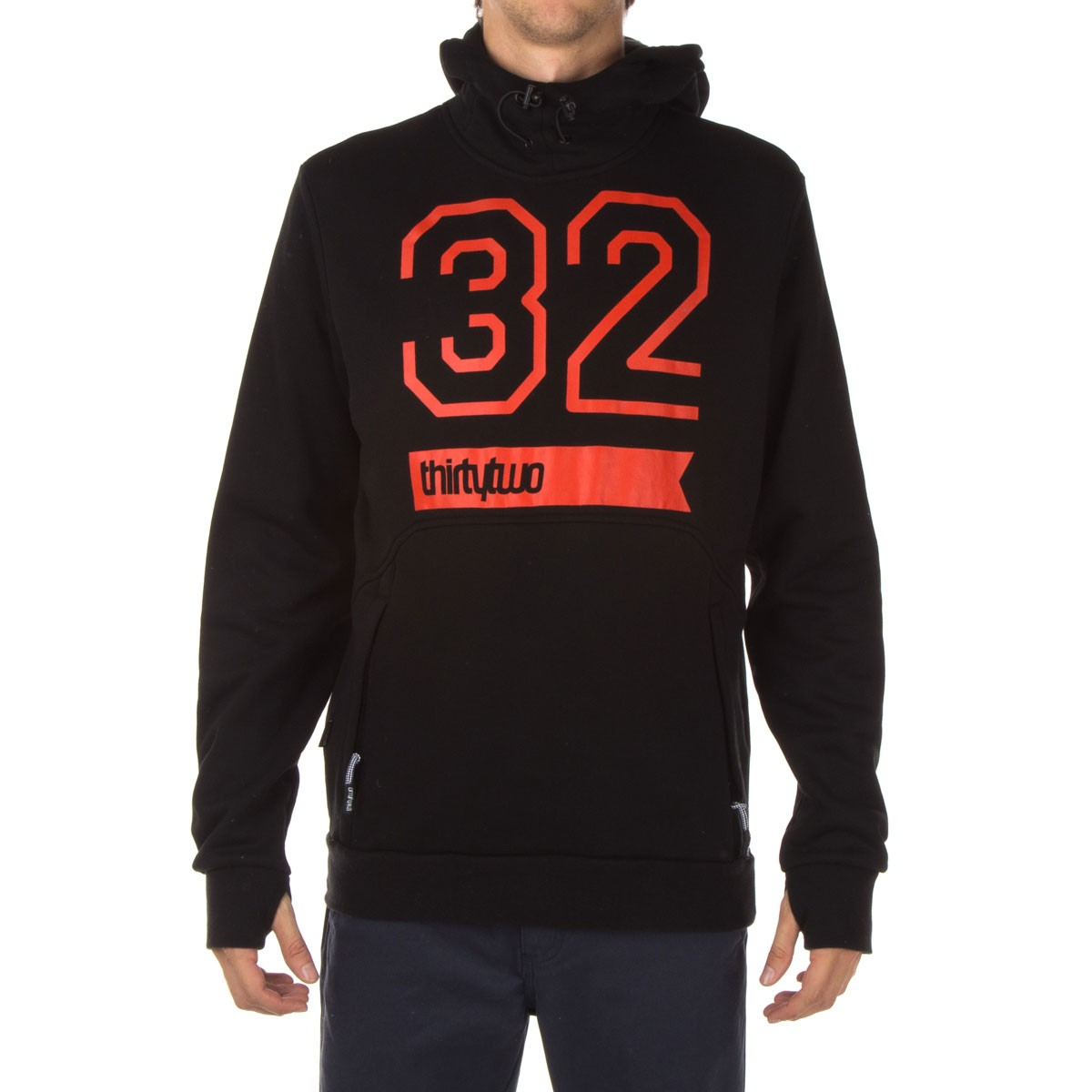 Thirty Two 32 Stamp Pullover Fleece Hoodie - Black