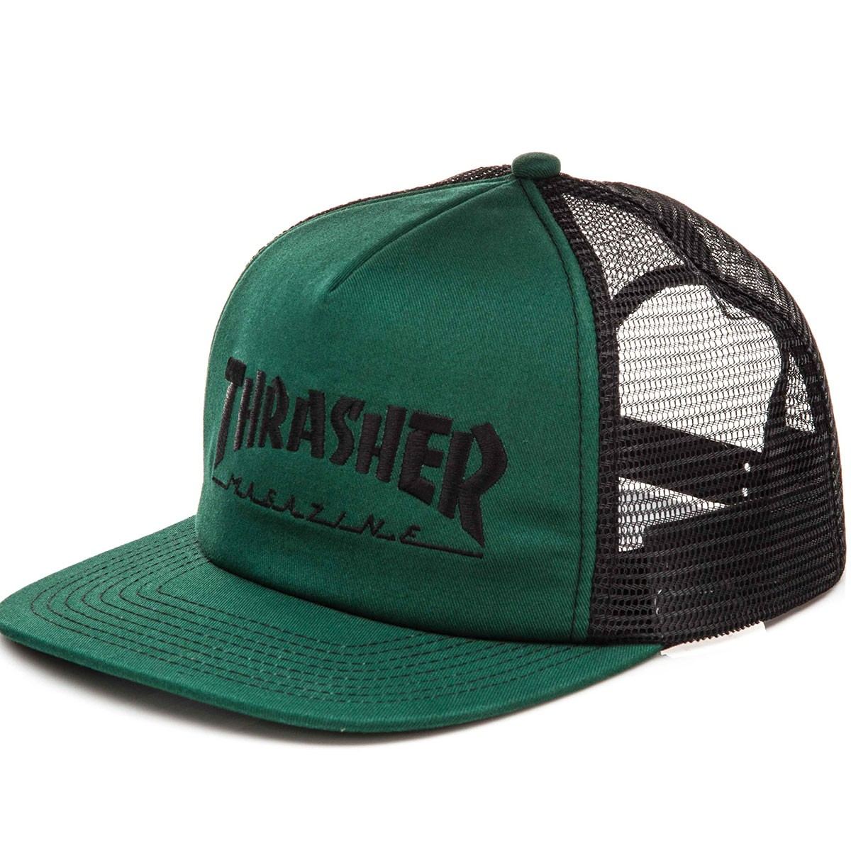 Thrasher logo embroidered mesh hat green black