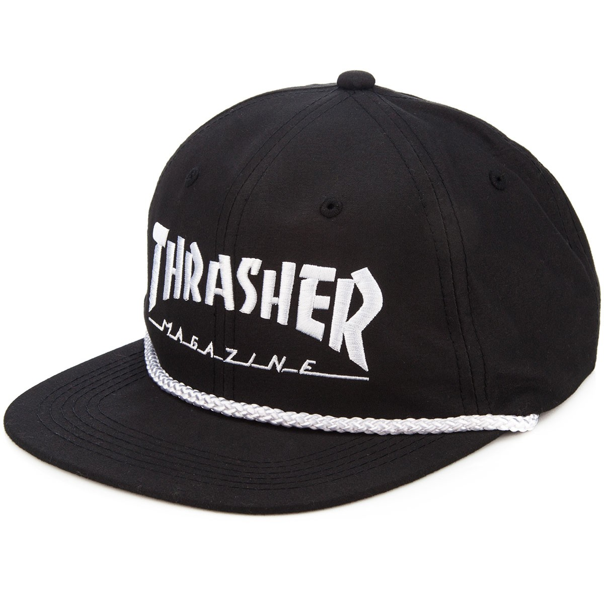 Thrasher Rope Snapback Hat - Black/White