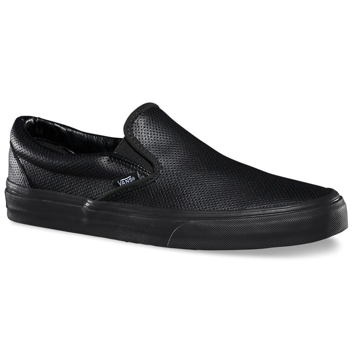 40416c78e4ad Vans Classic Slip-On Perforated Leather Shoes - Black Black - 3.5