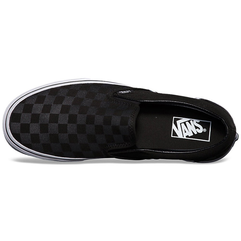 06169e5674 Vans Classic Slip-On Checkerboard Shoes - Black Black - 6.0