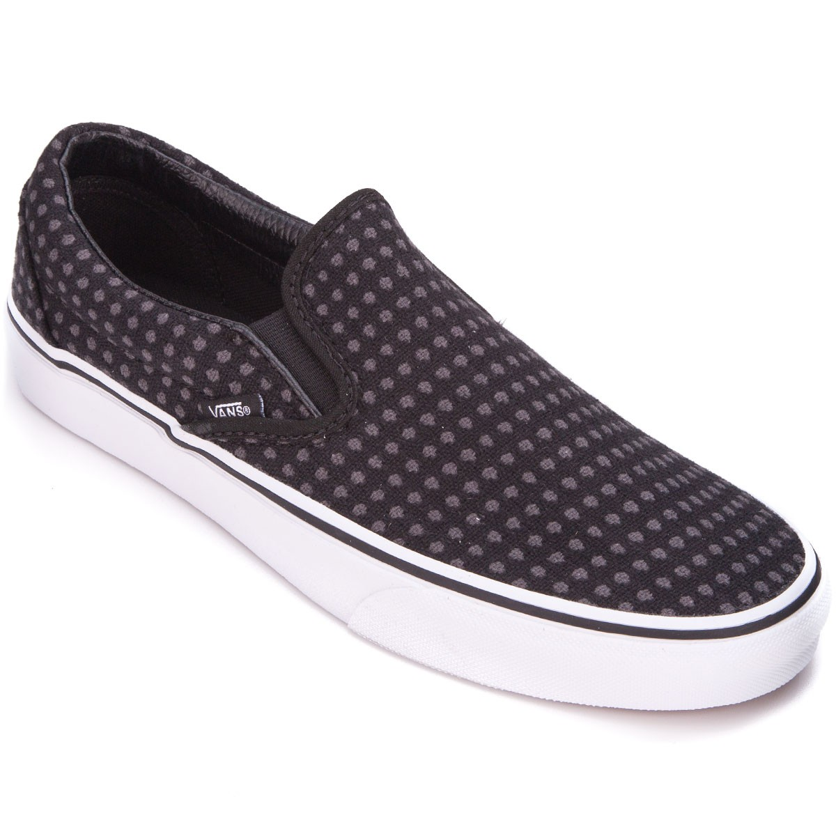 b702e548a68302 Vans Classic Slip-On Womens Shoes - Wool Dots Black White - 3.5