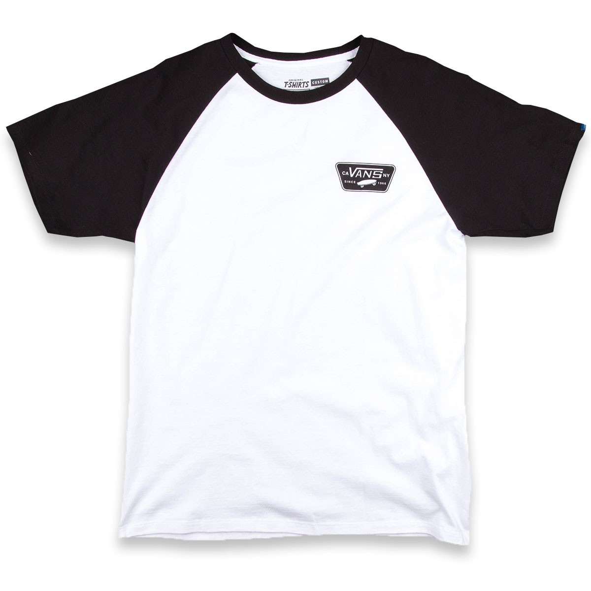 Vans full patch short sleeve raglan t shirt white black for Full black t shirt