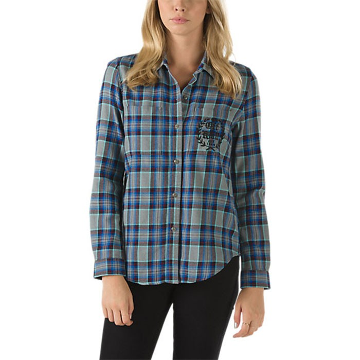 vans laurel womens flannel shirt frost grey
