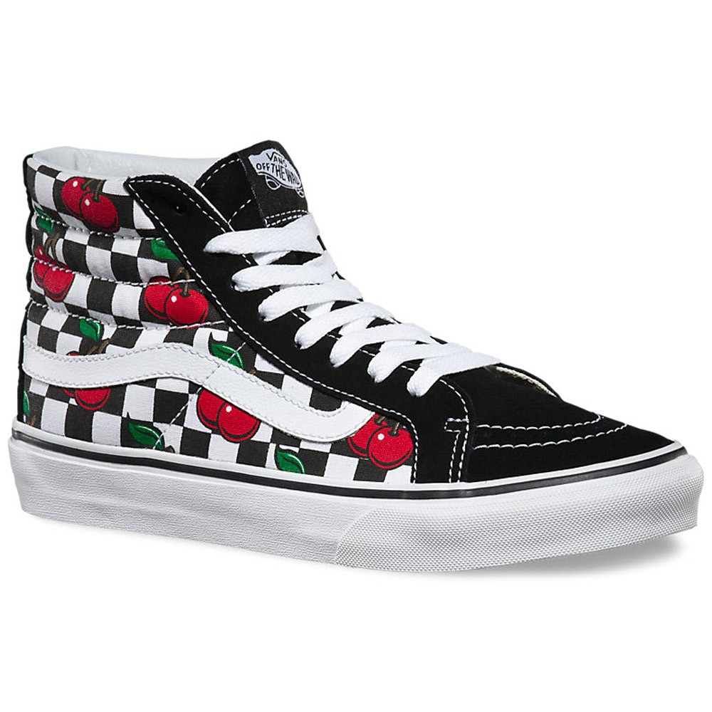 fecca5ee208 Vans Cherry Checkers Sk8-Hi Slim Shoes - Black True White - 4.5